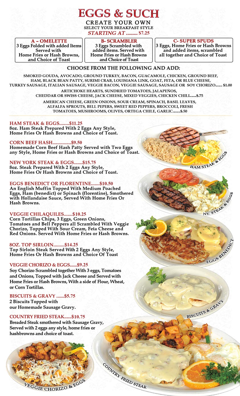 Omelette Inn Restaurant MENU PAGE2 - Eggs & Such